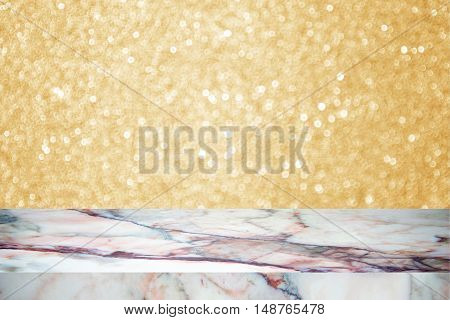 white marble stone countertop or table on yellow blurred abstract background / for display or montage your products