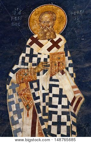 ISTANBUL, TURKEY - OCTOBER 31, 2015: Bishop figure of Saint Gregory the Theologian on the apse wall in the Church of the Holy Saviour in Chora (Kariye Camii).