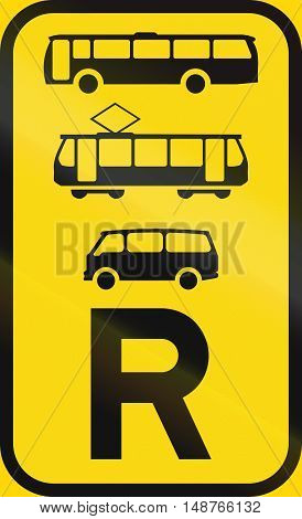 Temporary Road Sign Used In The African Country Of Botswana - Reservation For Buses, Trams And Mini-