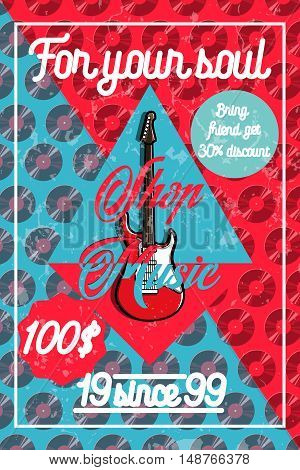 Color vintage music shop poster. For Music shop, recording studio, karaoke club. Design elements isolated on white background