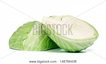 Green cabbage halfed loaf isolated over white background