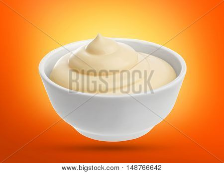 mayonnaise in bowl isolated with clipping path