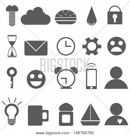 Set of Universal Outline Icons For Web and Mobile. Vector set icons.