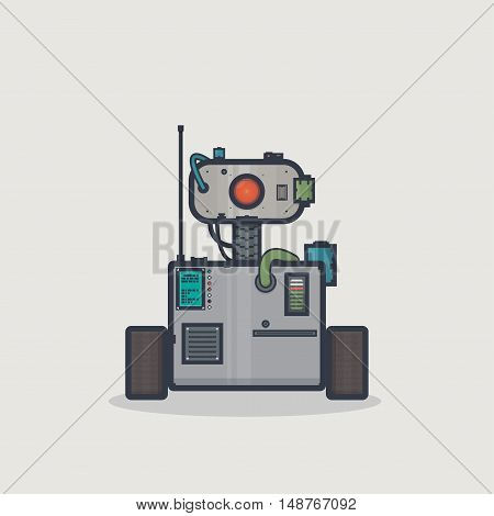 Line pixel style classic robot with rectangle body and moving head on neck with camera and gadgets.