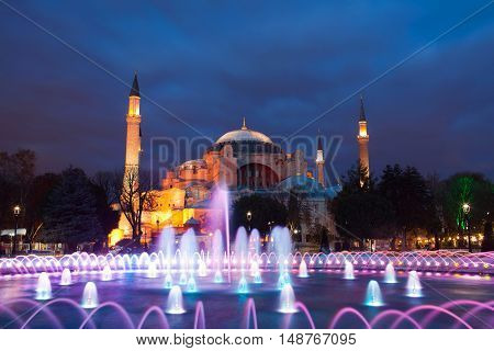 ISTANBUL, TURKEY - OCTOBER 31, 2015: Hagia Sophia (Ayasofya) temple at sunset in Istanbul,Turkey.