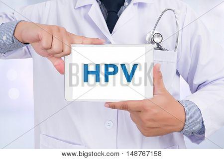 HPV CONCEPT Doctor holding digital tablet doctor work hard