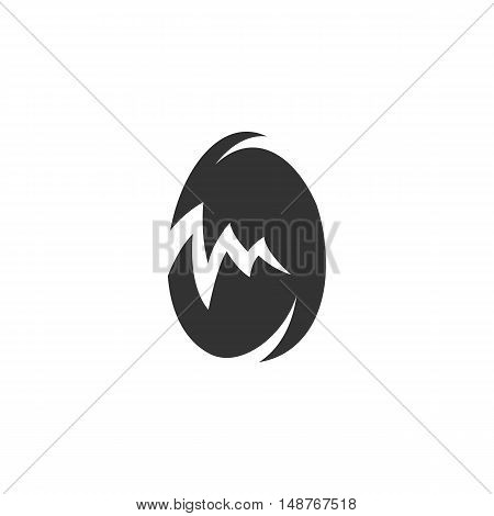 Broken egg Icon isolated on a white background. Broken egg vector logo - stock vector