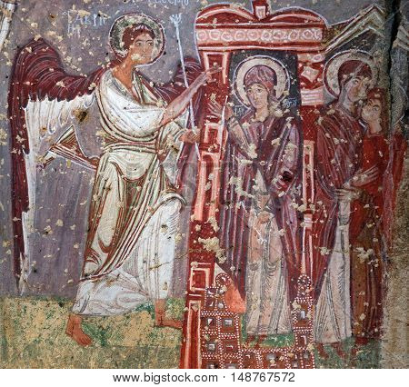 Ancient Fresco In The Church Of Emperor Nicaphorus Phocas In Cappadocia, Turkey