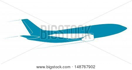 The contour of the modern jet aircraft. Side view. In flight. Blue color.