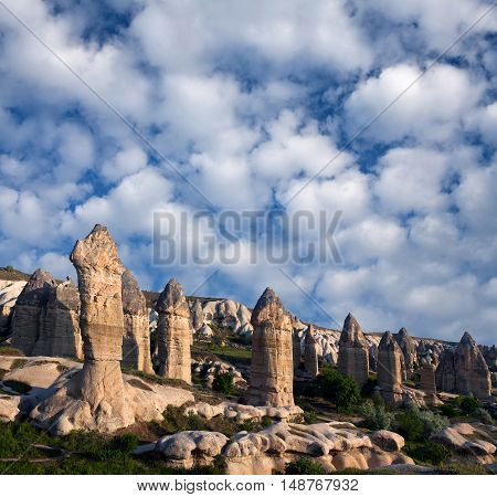 Panorama Of Unique Geological Formations In Love Valley, Cappadocia, Turkey