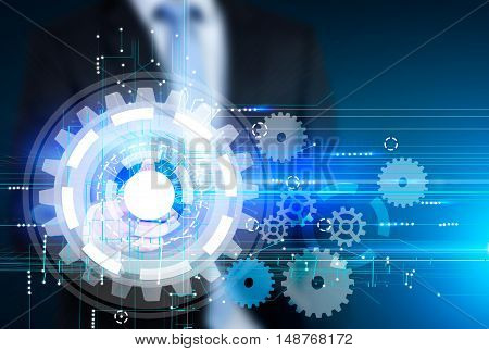Torso of businessman in suit standing near large cog sketch. Concept of company working smoothly. Toned image. Double exposure