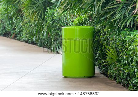 bin on walkway in Department store .