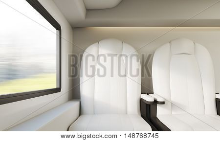 Two white leather armchairs near small window in modern train compartment. Concept of public transportation. 3d rendering.