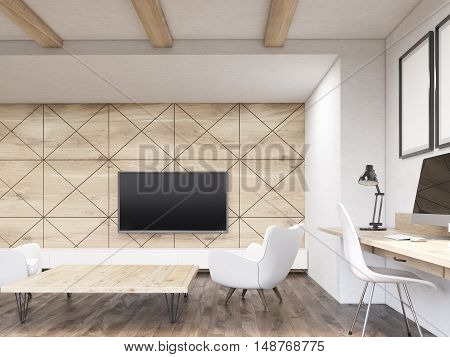 Large tv set hanging on wooden wall. Low table is surrounded by armchairs. Computer is standing on narrow desk. Concept of good interior. 3d rendering. Mock up