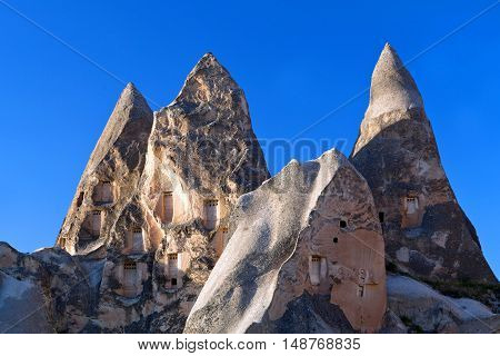 Unique Geological Formations With Dovecotes In Cappadocia, Turkey