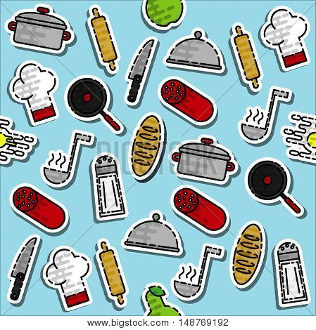 Kitchenware and cooking utensils colorful pattern. Vector illustration, EPS 10