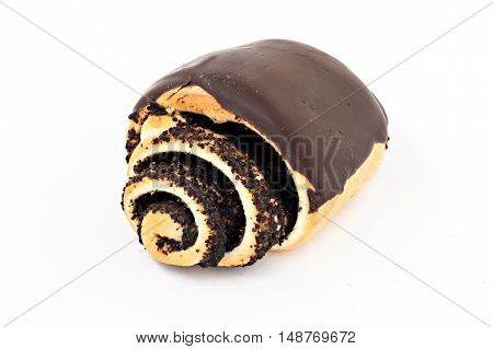 bun roll with poppy seeds and chocolate isolated.