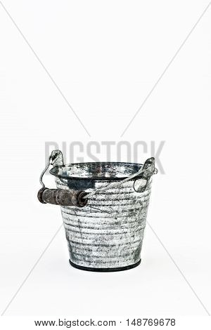 One Gray Metal Bucket Isolated On A White Background