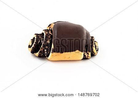 Bun Roll With Poppy Seeds And Chocolate Isolated