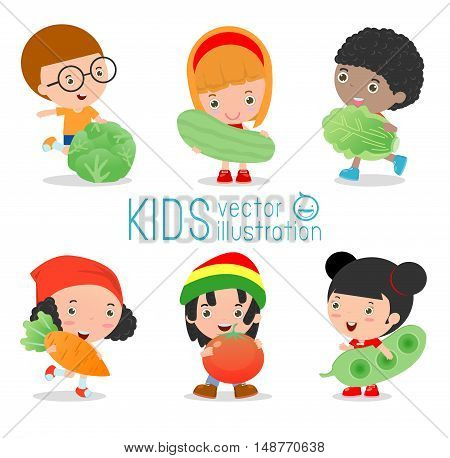 Happy kids holding smiling live vegetables ,Children and vegetables, Healthy children food concept, children in the farm,