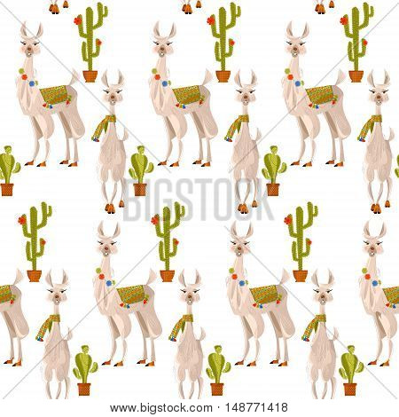 Lamas and cacti. Seamless background pattern. Vector illustration.