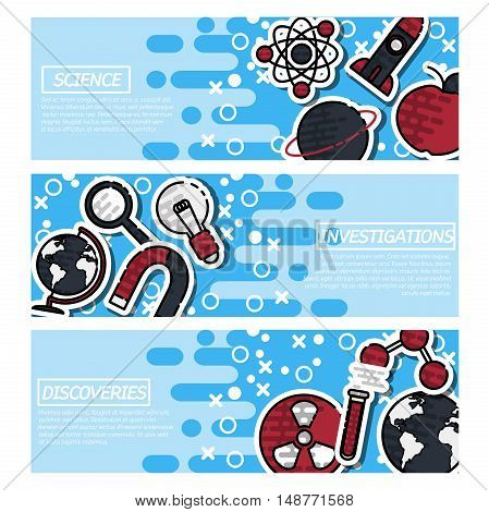 Set of Horizontal Banners about Science isolated vector illustration