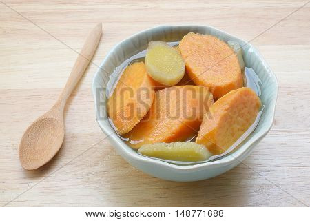 Asian dessert soup. Sweet potato soup boiled with ginger