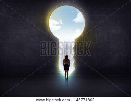 businessman looking a big key, solution concept