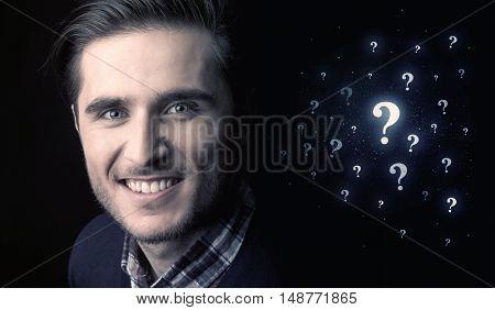businessman with many question mark near him