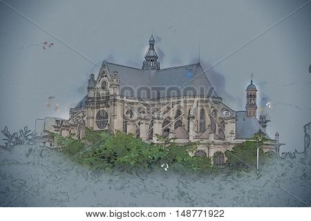 Eglise Saint-Eustache church, Paris, France. Vintage painting, background illustration, beautiful picture, travel texture