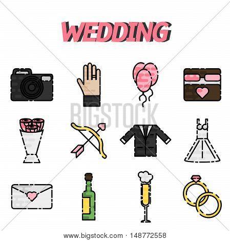 Set of wedding icons in flat design. Vector illustration, EPS 10