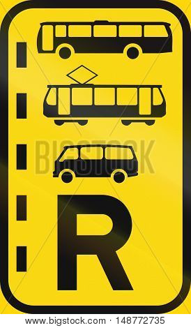 Temporary Road Sign Used In The African Country Of Botswana - Reserved Lane For Buses, Trams And Min