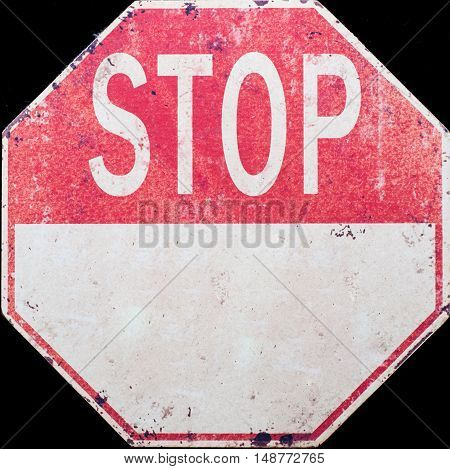 Traffic Stop sign white letters