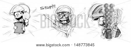 Acting Character design Bike Man Stop eat diet Cartoon pencil free hand sketch black and white color on paper have real paper texture and noise.