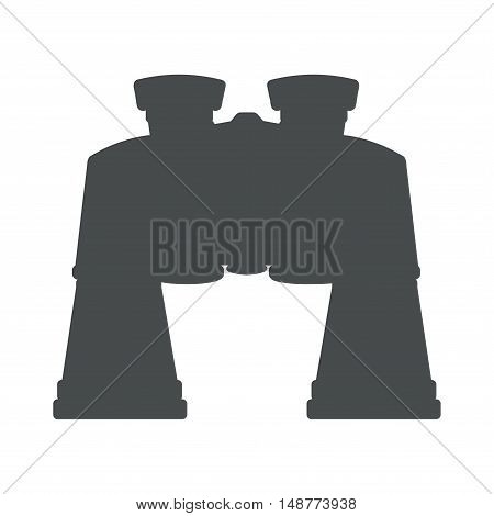 Icon black binoculars with zoom. Vector illustration.