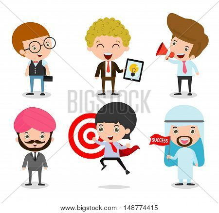 Set of Businessman Character Cartoon Design isolated on white background. Set of full body diverse business people. Different nationalities and dress styles. people character cartoon concept