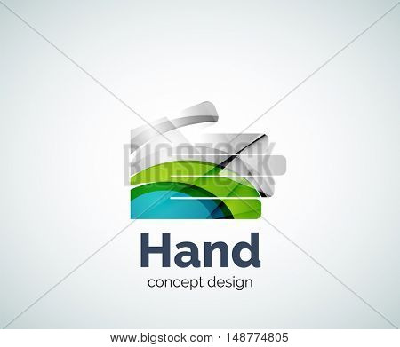 Hand logo template, abstract geometric glossy business icon
