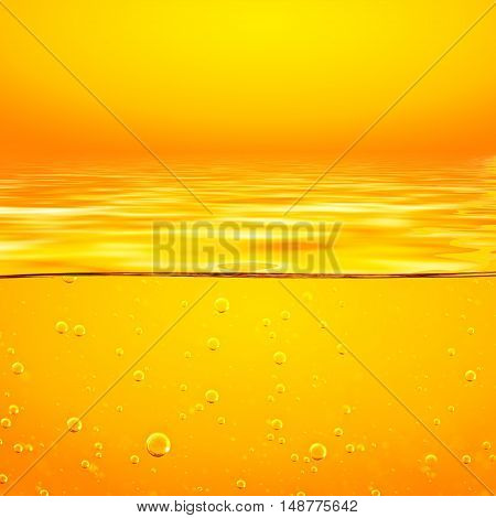 Oil. Honey. Beer. Juice. Orange yellow Liquid with oxygen bubbles. Closeup. Orange yellow waves and sky.