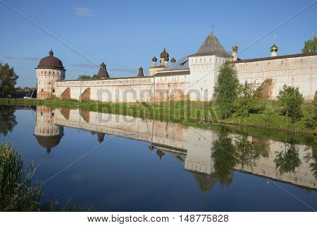 Summer evening at the walls of the old Rostov Boris and Gleb monastery. Yaroslavl region