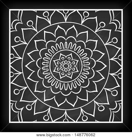 Doodle mandala flower on chalkboard. Outline floral design element. Coloring book pattern. Decorative round flower. Anti-stress therapy pattern on white background. Meditation poster. Vector illustration.