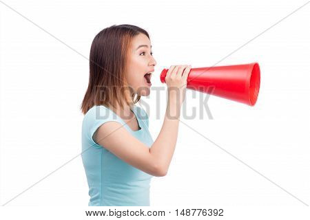 Asian girl shouting with a megaphone on white background