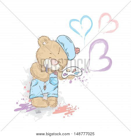 Cute Teddy bear in a overall and beret. Bear with palette and brush. Artist. Watercolor vector illustration for postcards, a poster, or print on clothing. Creativity and Hobbies.