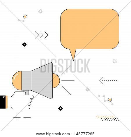 Megaphone. The speaker voiced information. Vector illustration of a linear flat on a white background