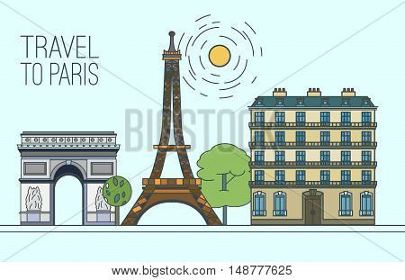 Paris cityscape with Eiffel Tower, The Arc de Triomphe and traditional houses. Beautiful vector illustration in modern style isolated on a light blue background. Paris main sights collection.