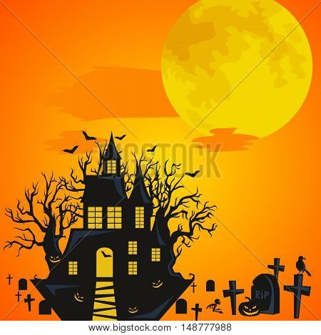 Halloween background. Horror forest with castle and cemetery. Halloween design - castle on cemetery big moon and skeleton on halloween cemetery. Halloween background witch flying on broomstick