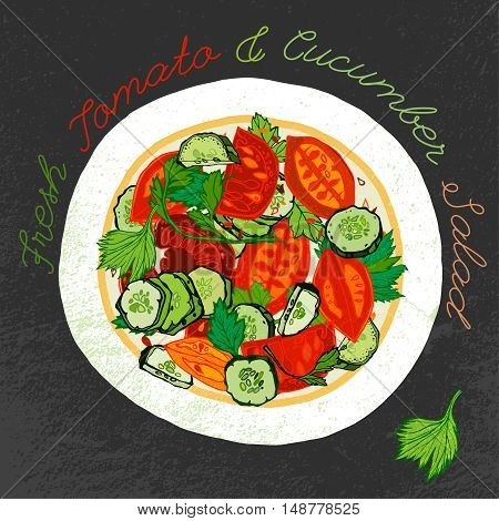 Fresh tomato and cucumber salad on a white ceramic plate. Beautiful hand drawn illustration. Artistic drawing in red, green, orange and gray colors on a dark textured background.