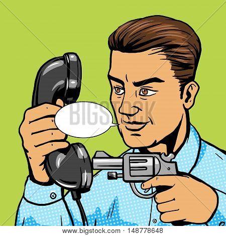 Man aim gun to phone handset pop art vector illustration. Human character illustration. Comic book style imitation. Vintage retro style. Conceptual illustration