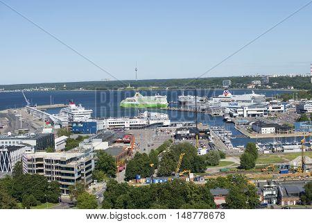TALLINN, ESTONIA - AUGUST 01, 2015: View on the Tallinn sea port, sunny summer day. Tourist landmark of the city Tallinn, Estonia