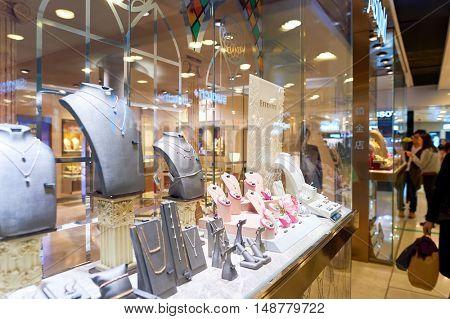 HONG KONG - CIRCA JANUARY, 2016: jewellery store at a shopping mall in Hong Kong. Shopping is a widely popular social activity in Hong Kong.