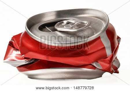 Crushed drink can isolated on white background.